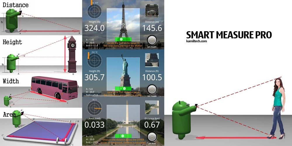 smart measure distance et taille