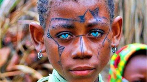 mélanésien oeil bleu