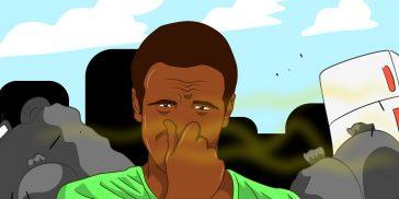 homme bouche son nez pollution